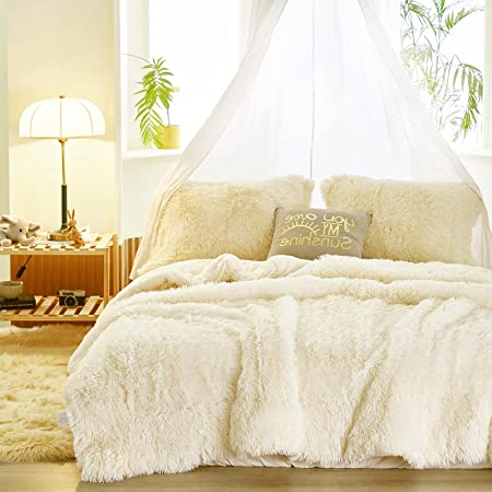 Faux Fur Shaggy Comforter Set Twin 3 Pieces - 1 Cream White Comforter Set with Sherpa and 2 Pillowcases, Ultra Soft and Easy Care Luxury Plush Shaggy Super Soft and Warm Beige Duvet Set