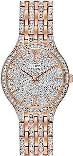 Bulova Women's 98L235 Swarovski Crystal Rose Gold Tone Pave Bracelet Watch