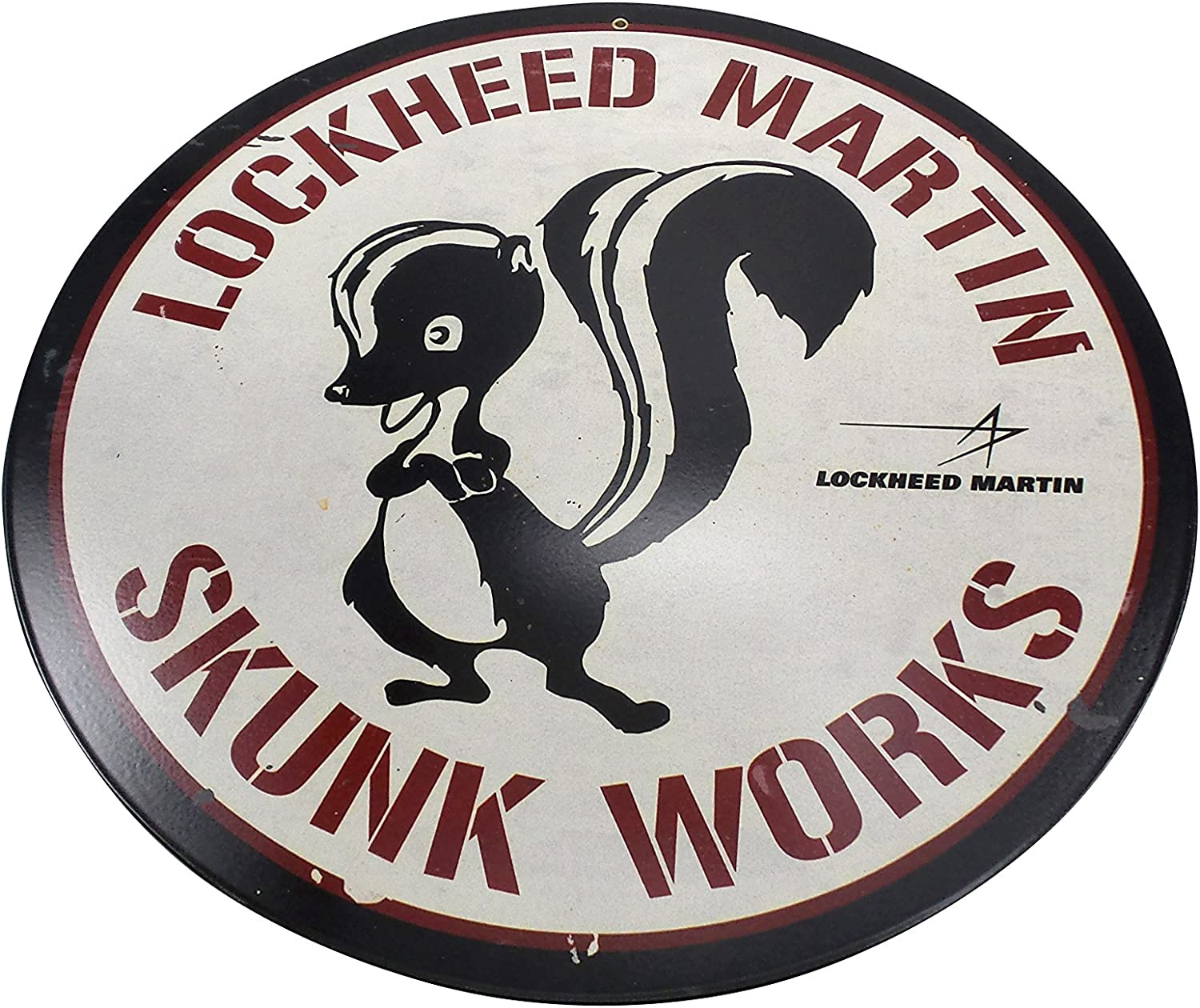 Past Time Opening large release sale Signs 5% OFF LM007 Skunk Works Aviation Round Vintage S Metal