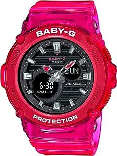ساعة انالوج بعقارب ورقمية بسوار راتنج للنساء من كاسيو Baby-G - احمر