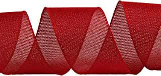 NOYI TRAXD 10 Yards 2.5 Inch Red Solid Wired Edge Ribbon Cross Royal Burlap Ribbon for Gift Wrapping Home Decor