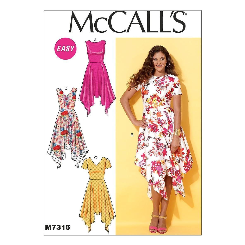 McCall's Patterns M7315 Misses' Handkerchief-Hem Dresses, Size A5 (6-8-10-12-14)