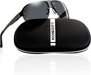 Men's Polarized Shield Sunglasses with Semi Rimless Unbreakable Frame LM061