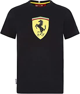 Ferrari Scuderia F1 Kids Large Shield T-Shirt Black/Red (11-12 Years, Black)