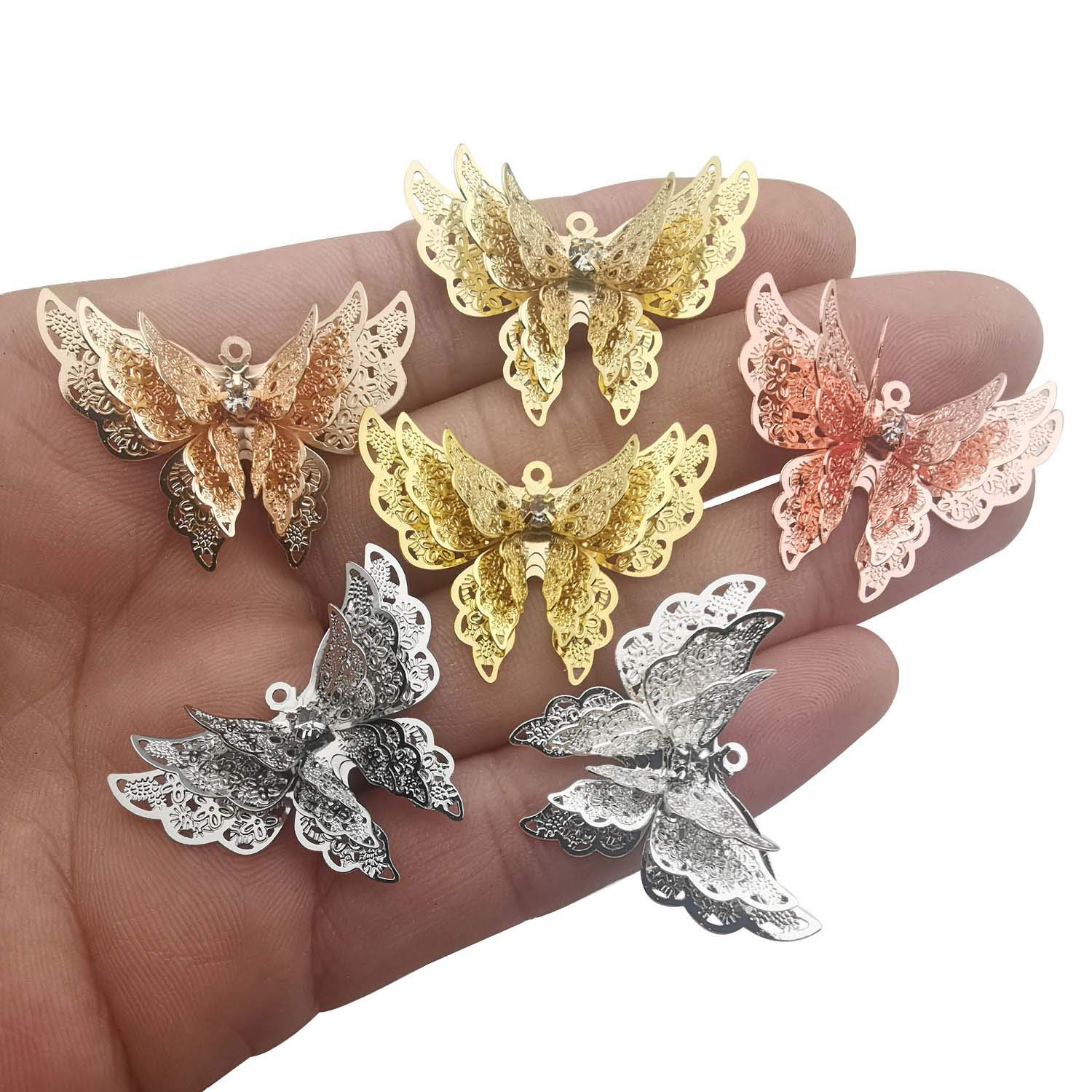 YoudiylaUK 7Pcs Craft Supplies Brass Mixed Hollow Butterfly Pendants Charms for Jewelry Making Crafting Findings Accessory for DIY Necklace Bracelet M245