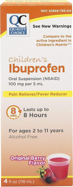 Quality Choice Children's Ibuprofen 100mg Oral Suspension, Pain/