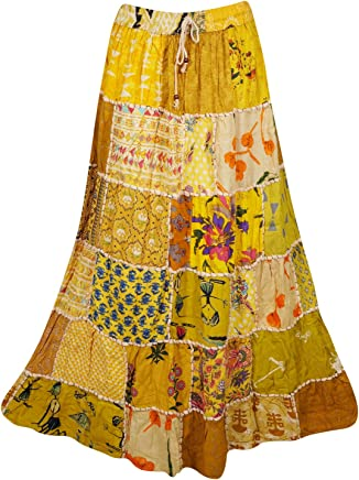 Women's Long Skirt Yellow Vintage Ethnic Patchwork Rayon Maxi Skirts S/M