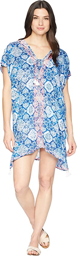 Aegean Tile Embroidered Tunic Cover-Up