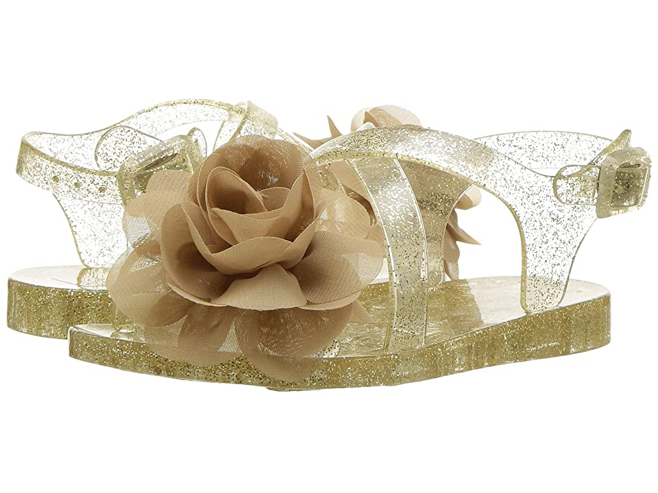 Baby Deer First Steps Jelly Sandal with Flower (Infant/Toddler) (Champagne) Girls Shoes