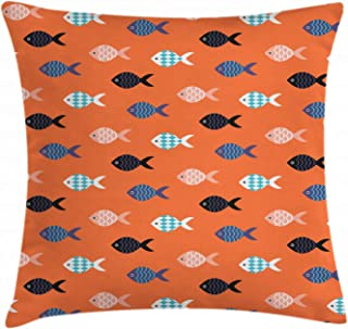 Ambesonne Peach Throw Pillow Cushion Cover, Fishes Motif Nautical Marine Sea Underwater Creature Animal Aquarium, Decorative Square Accent Pillow Case, 18