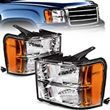 For 2007-2013 Sierra 1500 Headlights / 07-14 GMC Sierra 2500HD I 3500HD Pickup OEDRO Amber Reflector Clear Lens Chrome Housing Replacement Headlamps/Light Set,2-Yr-Warranty