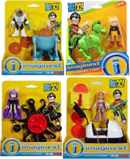 Toy Figure Go Super Hero Party Teen Titans Playset Magic Attack Raven / Meat Cyborg / Pizza Starfire / Beast Boy & Terra Adventure Cartoon Character Pack 4 Bundle