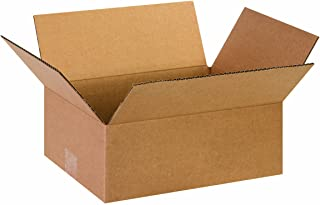 """Aviditi 13105 Flat Corrugated Cardboard Box 13"""" L x 10"""" W x 5"""" H, Kraft, for Shipping, Packing and Moving (Pack of 25)"""