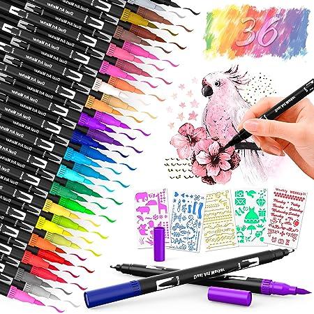 Dusor Filzstifte Set Dual Brush Pen 36 Farben Fineliner Set Bullet Journal Zubehör Handlettering Mandalas für Erwachsene Pinselstifte , 1-2 Mm Fasermaler und 0,4 Mm Fineliner mit 5 Graffiti Schablonen