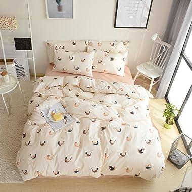 VM VOUGEMARKET Love Birds Duvet Cover Set Queen,3 Pieces Cotton Girls Cute Beige Duvet Cover with 2 Pillowcases,Lightweight Luxury Bedding Set -Full/Queen,Love Birds