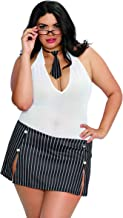 Dreamgirl Women's Plus Size Pinstriped Naughty Intern-Themed Costume Dress