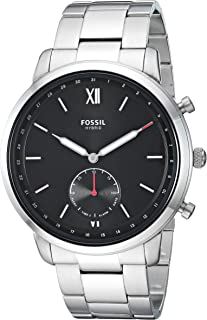 Fossil Men's Hybrid Smartwatch Watch with Stainless-Steel Strap, Silver, 21 (Model: FTW1180)