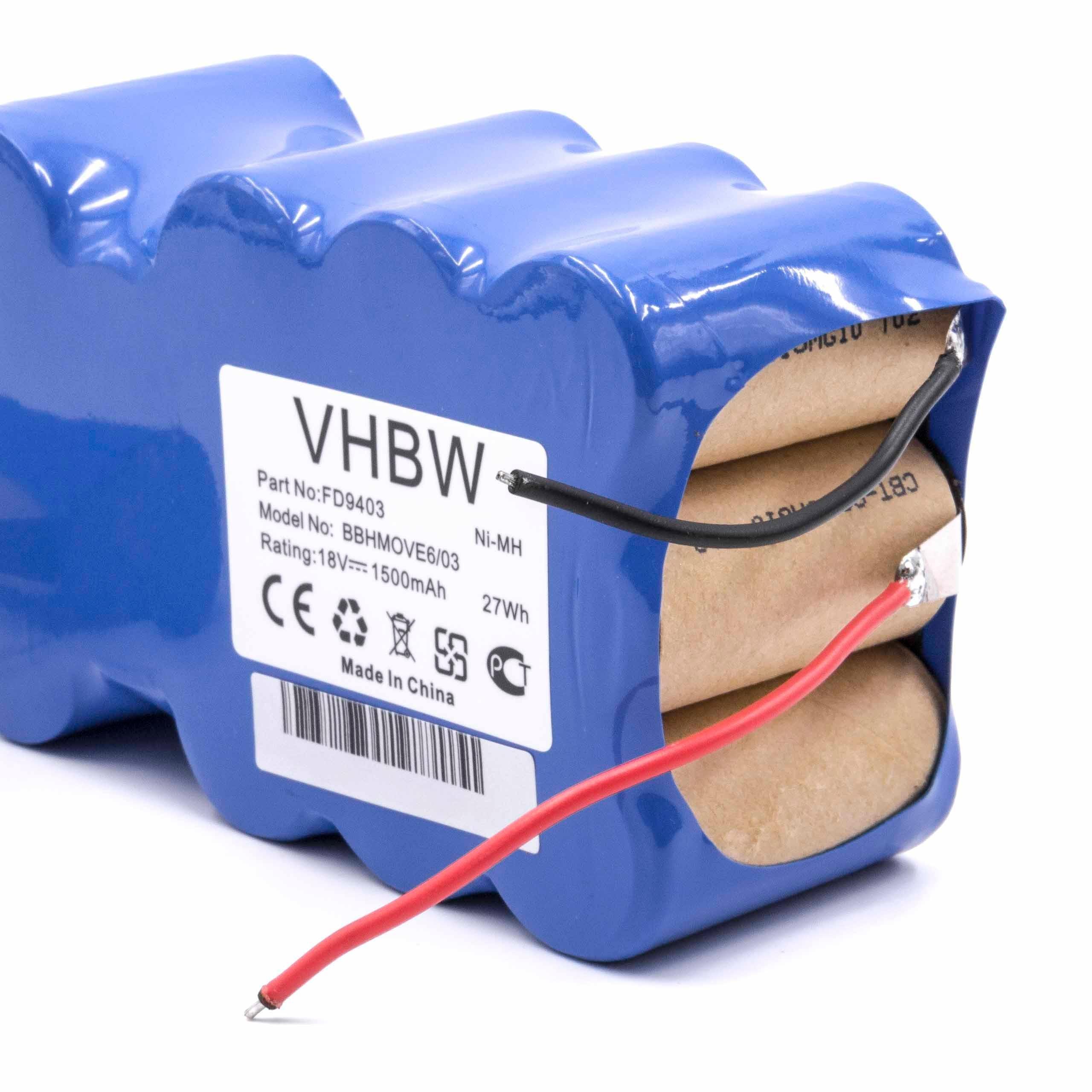 vhbw NiMH batería 1500mAh (18V) para aspiradora robot autónomo de ...