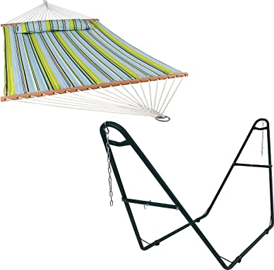 Sunnydaze Blue and Green 450-Pound Capacity Quilted Fabric Two-Person Spreader Bar Hammock and 550-Pound Capacity Universal Multi-Use Heavy-Duty Green Steel Hammock Stand Bundle