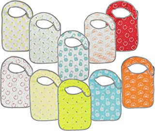 Baby Lounge Infant Babies Bib 10-Pack - Soft Drool Absorbing, Easy To Clean, Fruit Prints, 0 To 6 Months