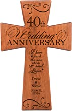LifeSong Milestones Personalized 40th Wedding for Couple Cherry Wall Cross, 40th Ruby Gifts for Her 40 Year Ideas for Him I Have Found The One Whom My Soul Loves (7x11)