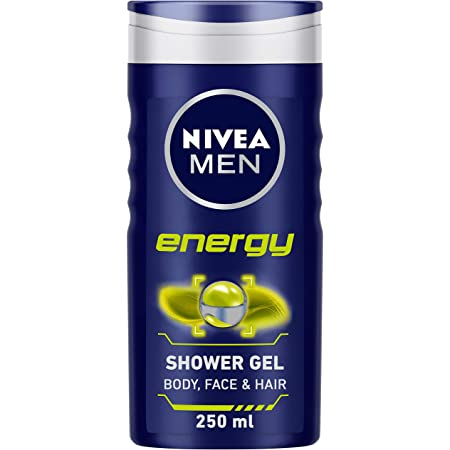 NIVEA Men Body Wash, Energy with Mint Extracts, Shower Gel for Body, Face & Hair, 250 ml
