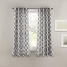 Lush Decor 16T000173 Edward Trellis Room Darkening Window Curtain Panel Pair, 63 inch x 52 inch, Gray, Set of 2