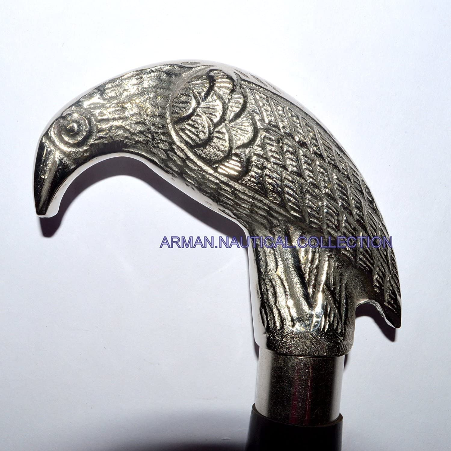 Silver Max 79% OFF Nickel Plated Raven Walking Stick Sty Max 88% OFF Carved Vintage Head