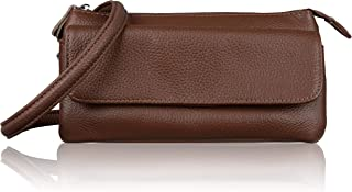 Befen Leather Wristlet Clutch Smartphone Crossbody Wallet with Card Slots/Shoulder Strap/Wrist Strap (Brown Large)