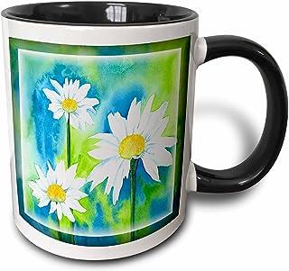 3dRose White Marguerite-Two Tone Black Mug, Ceramic, Multi-Colour, 10.16 x 7.62 x 9.52 cm
