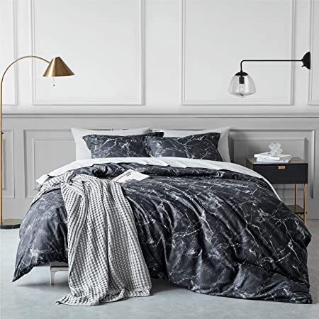 Bedsure Duvet Cover Set with Zipper Closure-Printed Marble Design,Twin (68x90 inches)-2 Pieces (1 Duvet Cover + 1 Pillow Sham)-Ultra Soft Hypoallergenic Microfiber