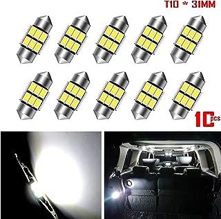 AKKI 10pcs 31mm Festoon LED Bulbs,12V 6-5730 Chipset, Canbus Error Free Non Polarity, DE3175 DE3021 DE3022 DE3023 LED Bulbs for Interior Dome Map Door Courtesy License Plate Lights, White