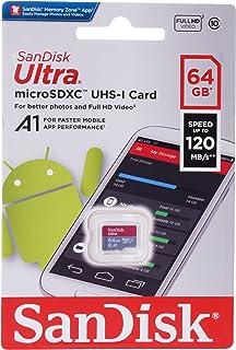 بطاقة مايكرو اس دي اكس سي الترا 64 جيجا، 120 ميجابت للثانية فئة ايه 1 من سانديسك، سرعة فائقة UHS-I فئة 10