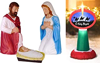 3 Piece Outdoor Nativity Scene with 3 Wise Men Holy Night Sign Decoration