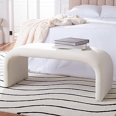 Safavieh Home Collection Tenko Modern Cream Velvet Bench (Fully Assembled) BCH1300A