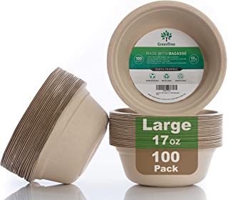 GreenTree 100% Biodegradable 17 oz. Disposable Bowls [100 Pack] | Paper Bowls Substitute | Large Eco Friendly Bowl | Bagas...