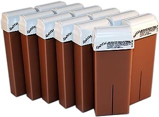 Epilwax 12 Cartuchos Roll-On de Cera Depilatoria Tibia Cera roll on de 100 ml de Cera profesional de Chocolate de alta calidad para Depilación con Bandas Depilatorias des las piernas, axilas, y el cuerpo