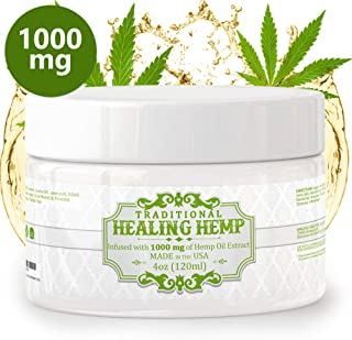 Pure Hemp Cream for Pain Relief - 1000mg of Hemp Oil Relieve Muscle Aches and Soreness, Arthritis and Inflammation Extra Strength Salve with Aloe, Menthol and Vitamin E (4oz)