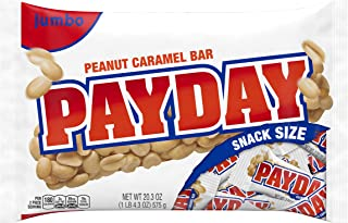Hershey's Payday Peanut Caramel Snacksize Candy Bar Jumbo Bag, 20.3 oz