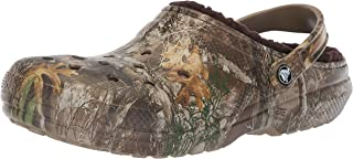 Crocs Men's and Women's Classic Fuzz Lined Realtree Edge Clog, Great Indoor or Outdoor Warm & Fuzzy Slipper Option
