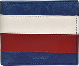 Tommy Hilfiger Men's Slim Leather Bifold Wallet-Red White and Blue Flag Design