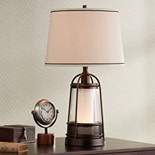 Hugh Industrial Table Lamp with Nightlight Bronze Metal Seeded Glass Off White Drum Shade for Living Room Family - Franklin Iron Works