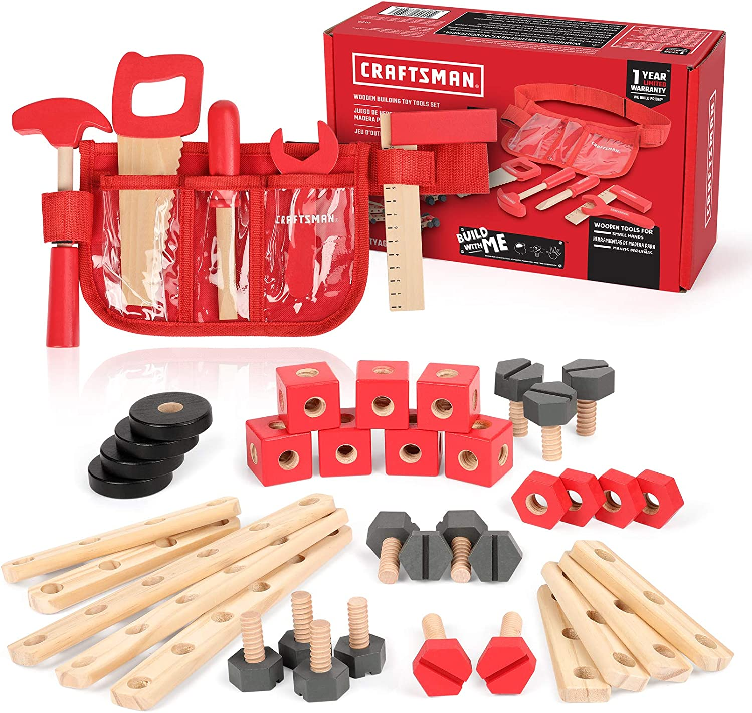 Craftsman Wooden Building Toy Tools Set, Building Toy Set Creative&Educational Construction Toy, Great Gift for Toddlers 3+