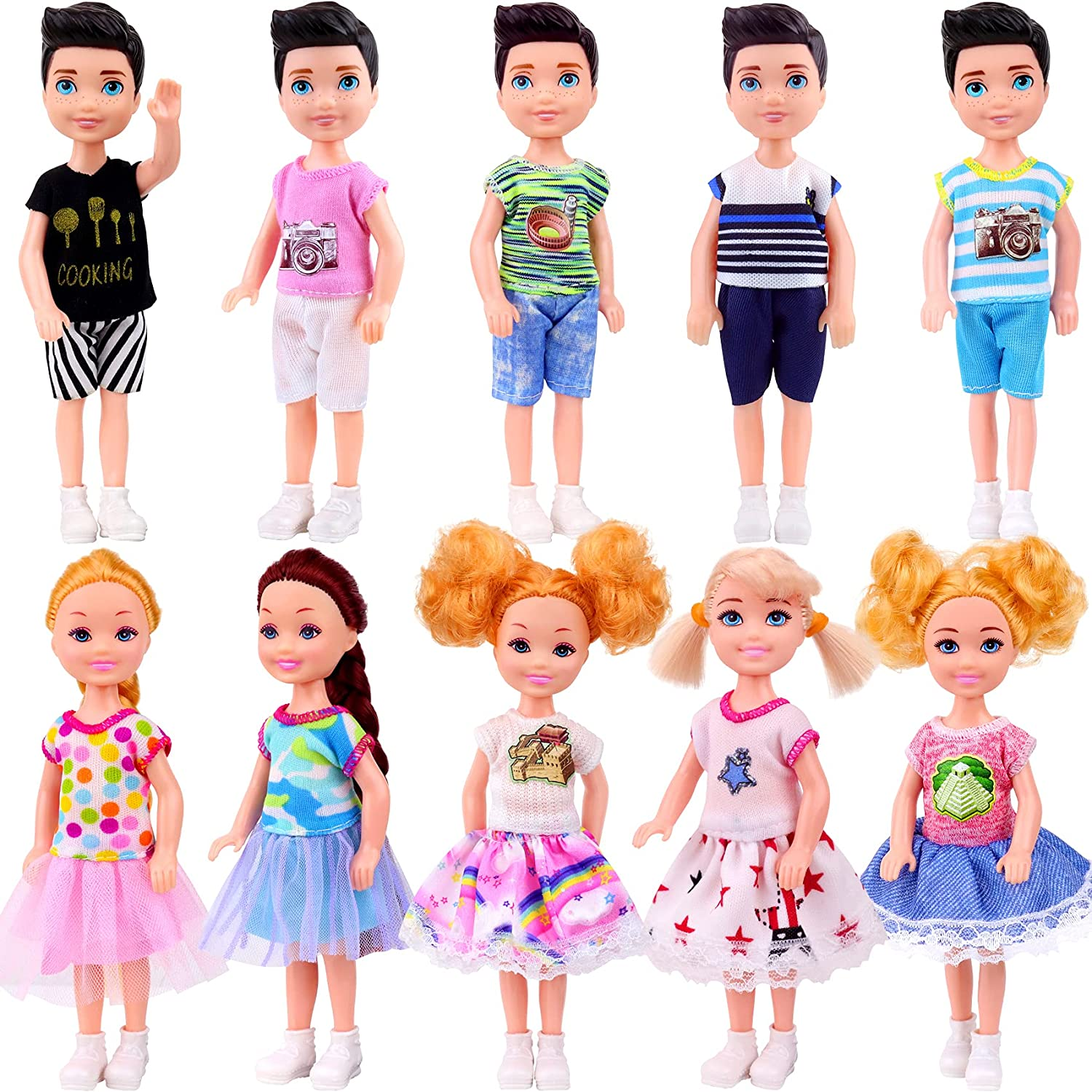 ZITA ELEMENT 10 Pcs 5 Inch with Mini excellence Latest item Boy Girl and Doll