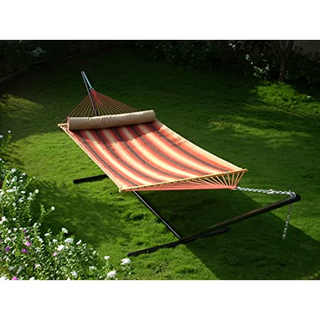 OAK N' OAK® Two Person Quilted Hammock with 15Ft Steel Stand - Terracotta Stripe