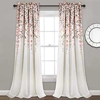 "Lush Decor Weeping Flowers Room Darkening Window Panel Curtain Set (Pair), 84"" x 52"", Blush and Gray, 84"
