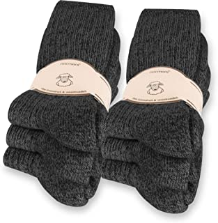 6 Paar Norweger Socken mit Wolle Anthrazit, Wintersocken, Herrensocken mit Polstersohle