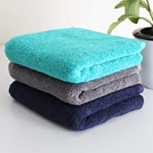 Heelium Bamboo Hand Towel for Sports & Gym, Ultra Soft, Super Absorbent, Antibacterial, 600 GSM, 25 inch x 15 inch, Pack of 3 (Blue, Grey, Teal)