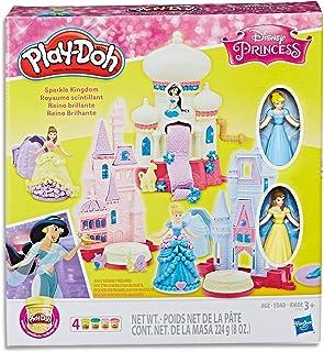 Play-Doh - Disney Princess - Sparkle Kingdom Playset - 2 Dolls, Acc & 4 Tubs of Dough - Creative Kids Toys - Ages 3+