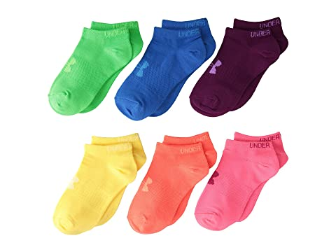 Under Armour UA Solid 6-Pack No Show (Big Kid) Brights/Assorted Running Socks 8423828